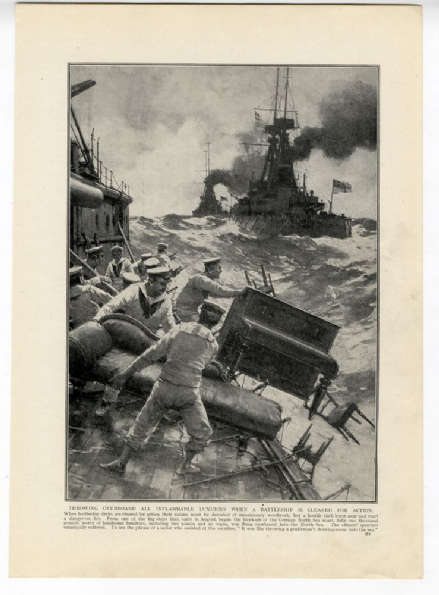1914 WW1 PRINT BATTLESHIP CLEARED FOR ACTION Blockade of the North Sea SAILORS (283)